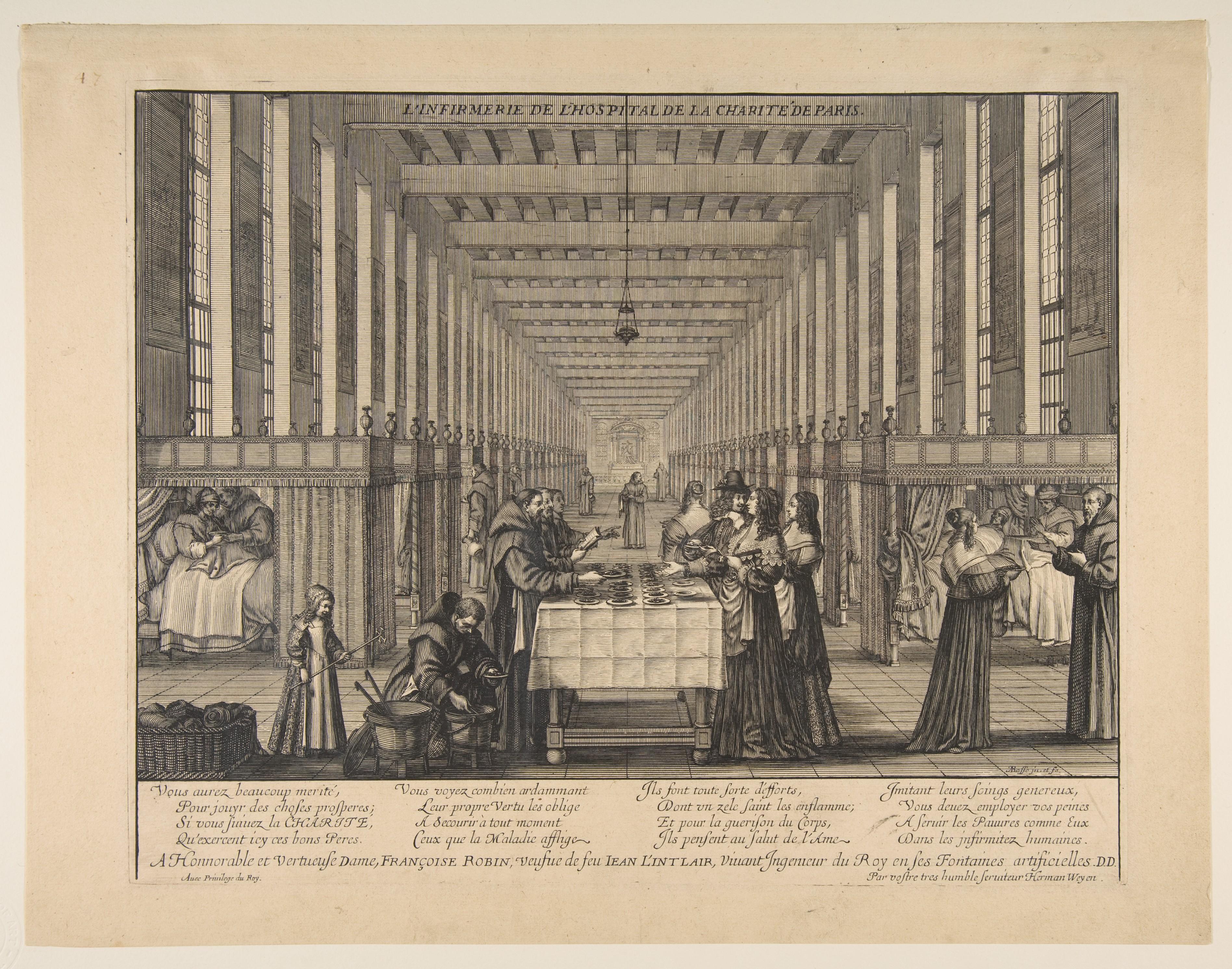 L'infirmerie de l' hospital de la Charité de Paris, Abraham Bosse, c. 1639